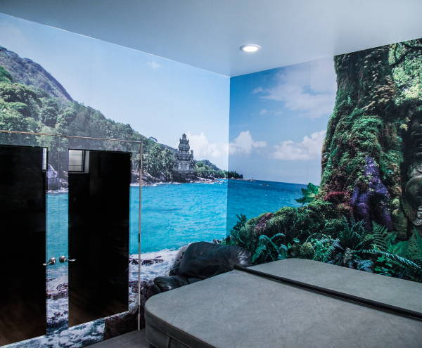 Interior Vinyl Wall Wrap -  Beach Scene Wall Wrap - Hot Tub Room