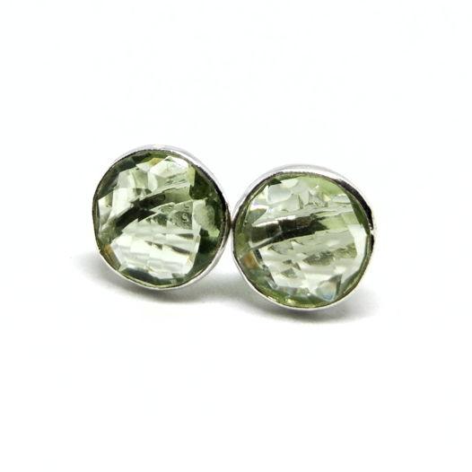 Серьги - гвоздики с празиолитом серебро 925