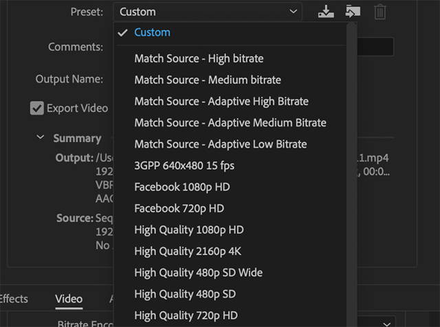 set resolution by changing the Settings in the Export window.
