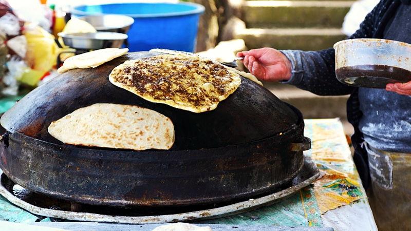 Street food, zaatar bread, Beirut, Lebanon