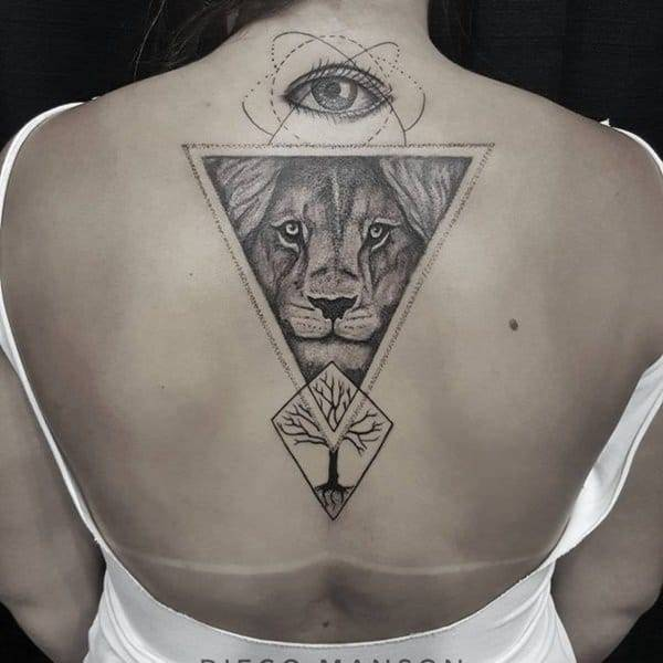 Tatouage Lion Oeil Dos Femme