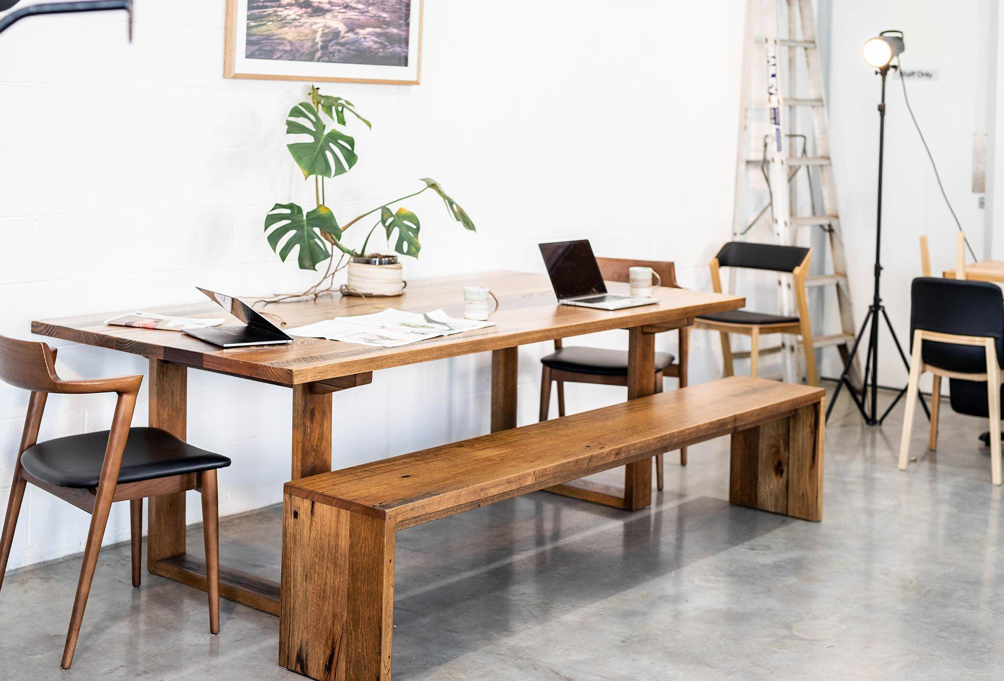 Board Room Table Straightboard Mixed Species Skip/BJ Timber Box End Legs