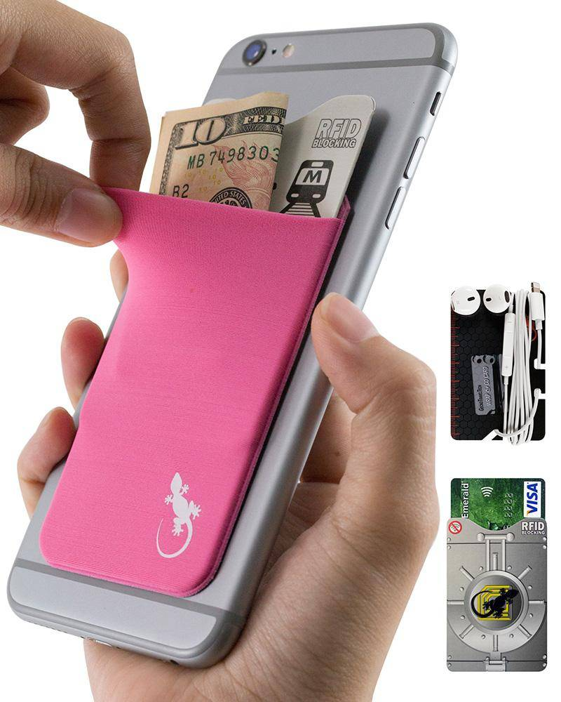 Phone wallet by Gecko Travel Tech, adhesive card holder sleeve in pink, universal fit to any cell phone, carry credit cards and cash in this stretchy Lycra pocket.