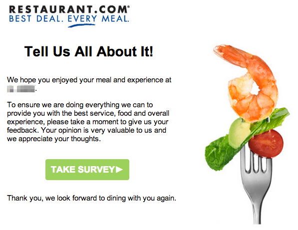restaurant email marketing example rate your experience