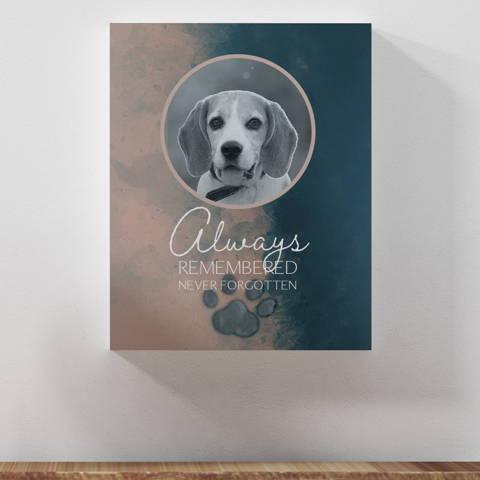 """Always Remembered, Never Forgotten"", Dog Memorial Wall Art"
