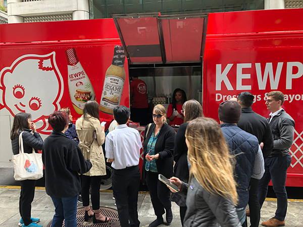 Customers in line at Kewpie Food Truck