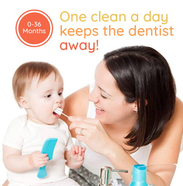 Mother happily helps clean child's mouth with SuperTots baby oral cleaner