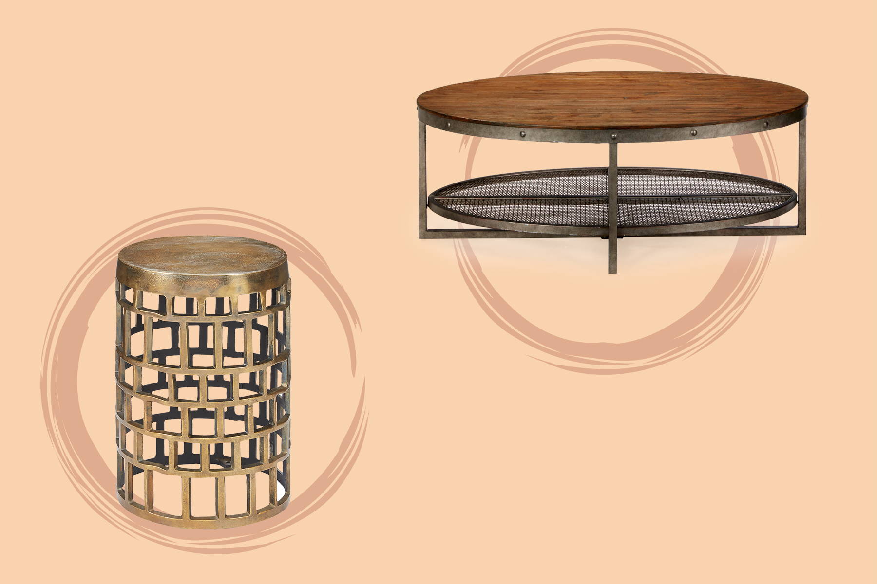 a round tray table and a drum table