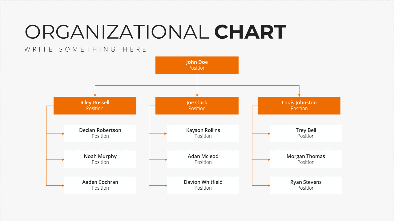 Minimal X Marketing Plan Presentation Template Organization Chart