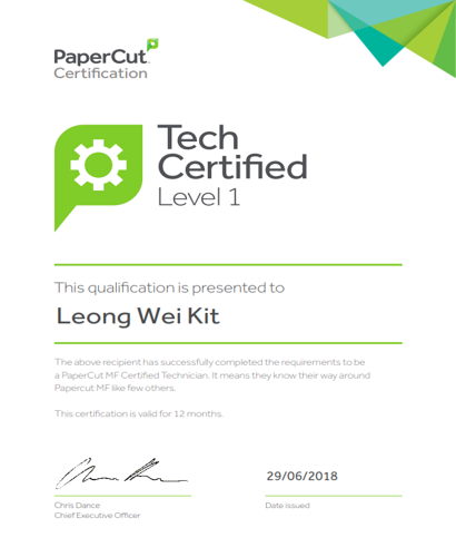 Papercut certification for Leong Wei Kit