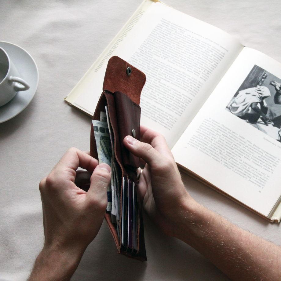 Кожаный кошелёк мужской коричневый