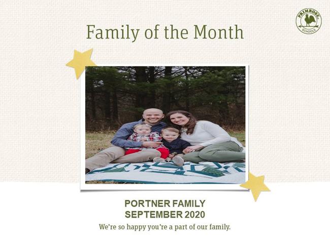 September Family of the Month The Portner Family