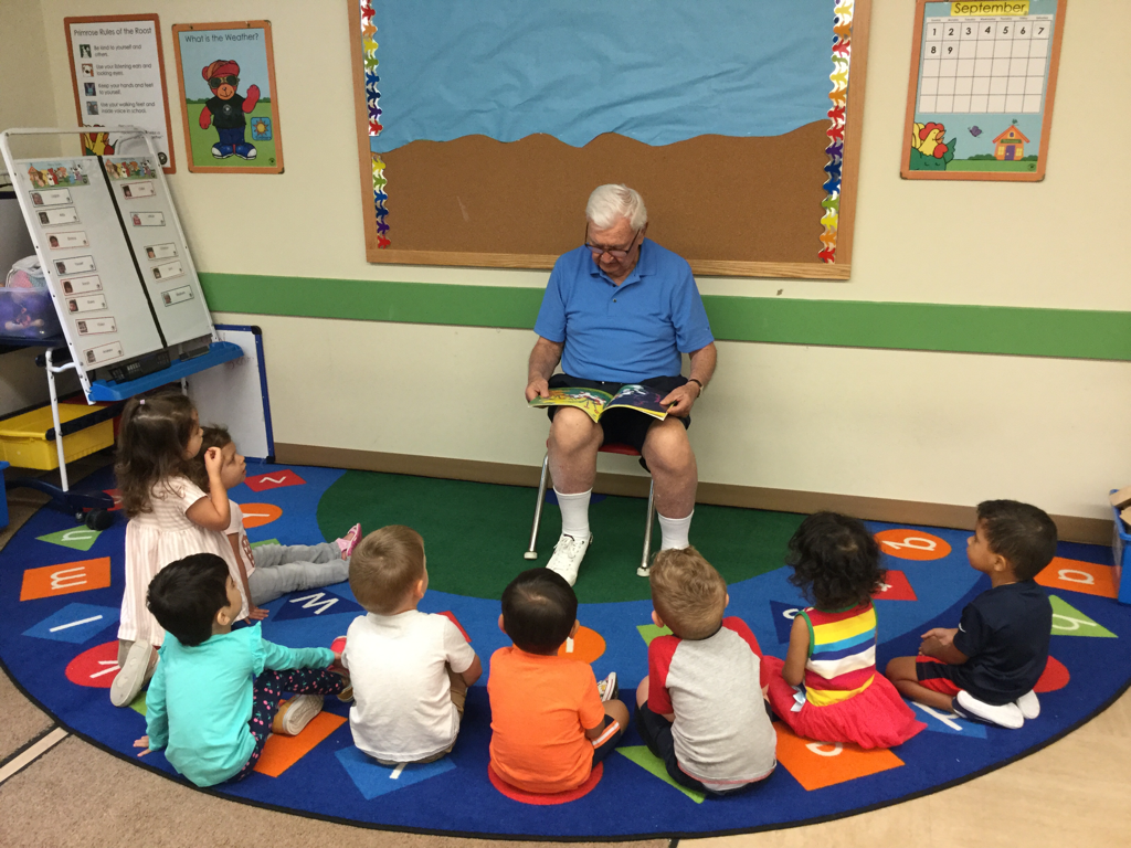 Grandparents came to Primrose School for a story and special snack.