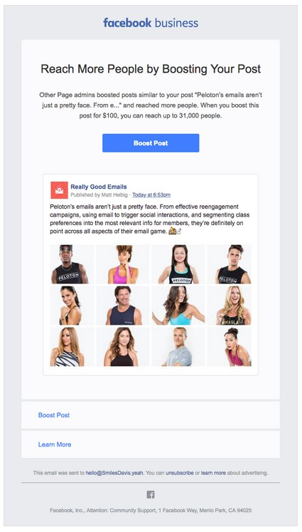 As you can see from this Facebook business example, it's easy to make Facebook ads with Delivra.