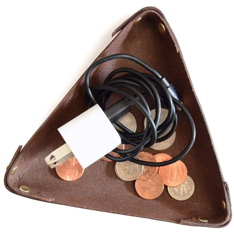 Leather Triangle Trinket Bowl