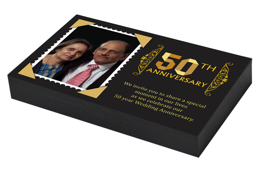 Couple photo on 50th Marriage Invitation