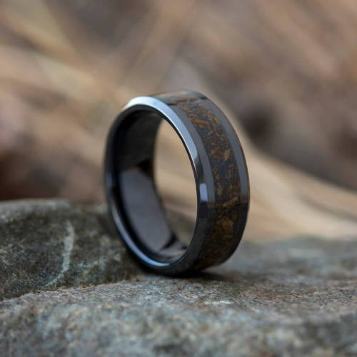 Black Ceramic Black Metal Ring