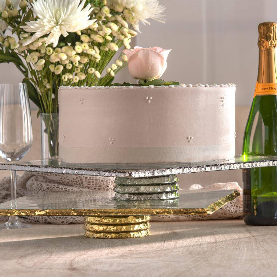 high-end glass cake server