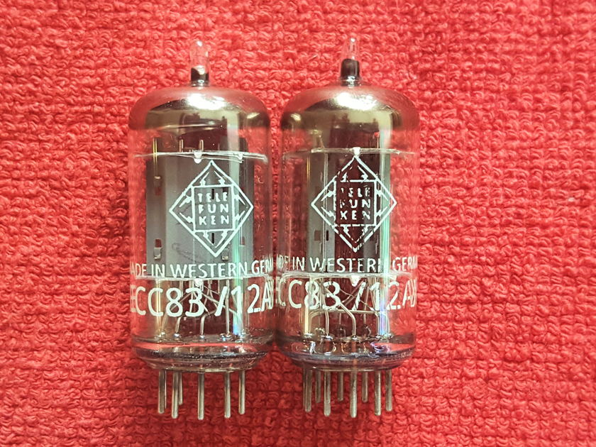 Telefunken 12AX7 / ECC83 smooth plates tubes, matched pair, test new!!!