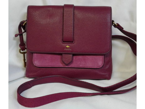 Fossil Raspberry Wine Crossbody