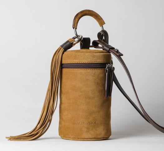 """Женская сумка """"Тубус"""" из натуральной замши и кожи"""