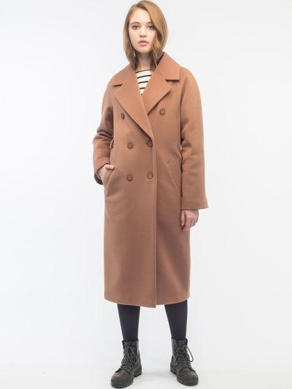 Утепленное двубортное пальто Camel
