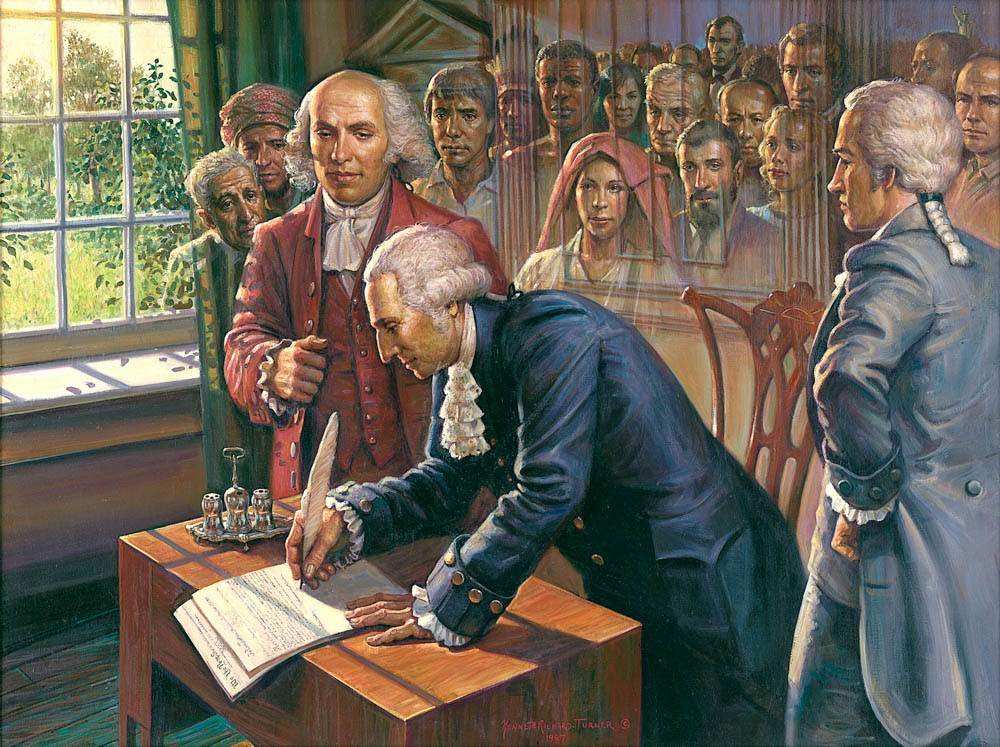 Patriotic painting of te founding fathers signing the Declaration of Independance.