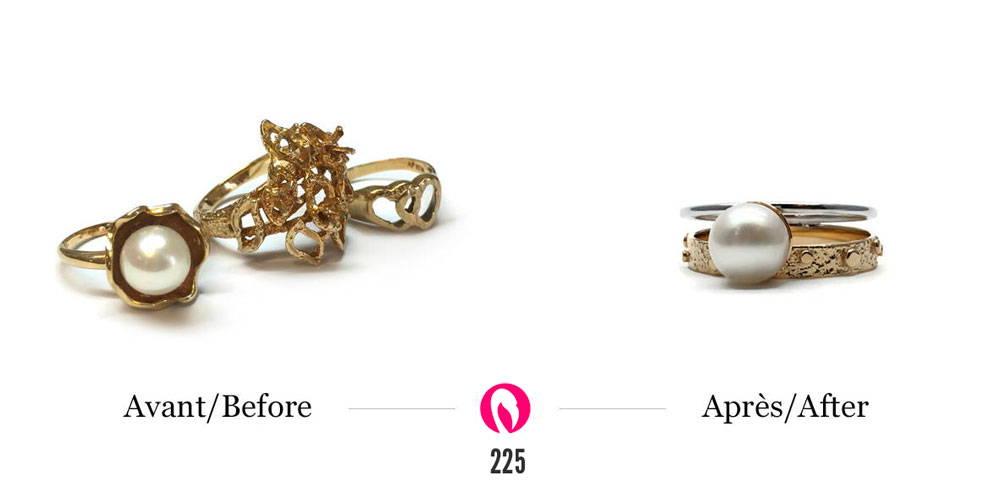 transformation de bijoux ancien avec or jaune et perle