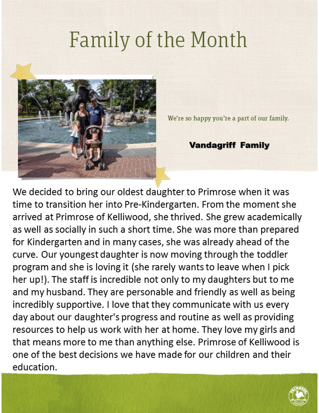 Family of the Month - Vandagriff Family