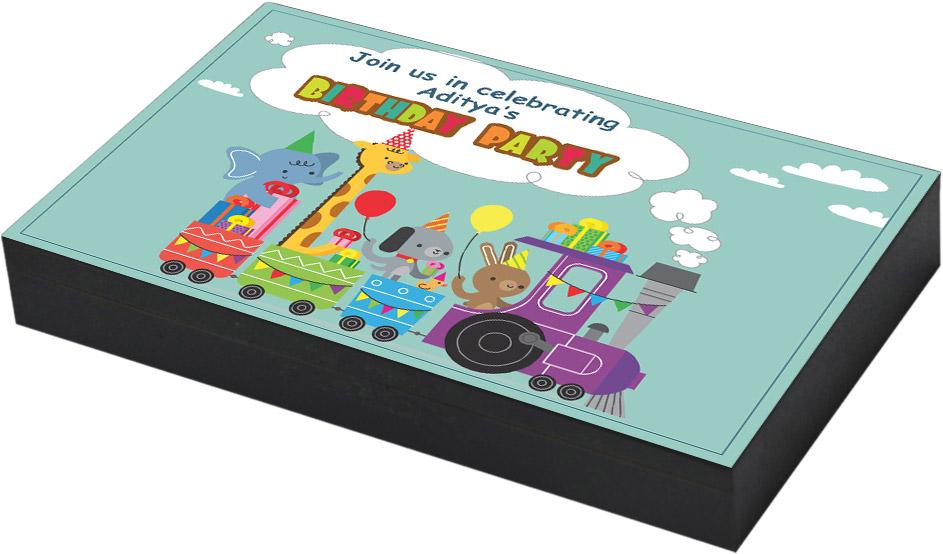Toy train birthday invitation