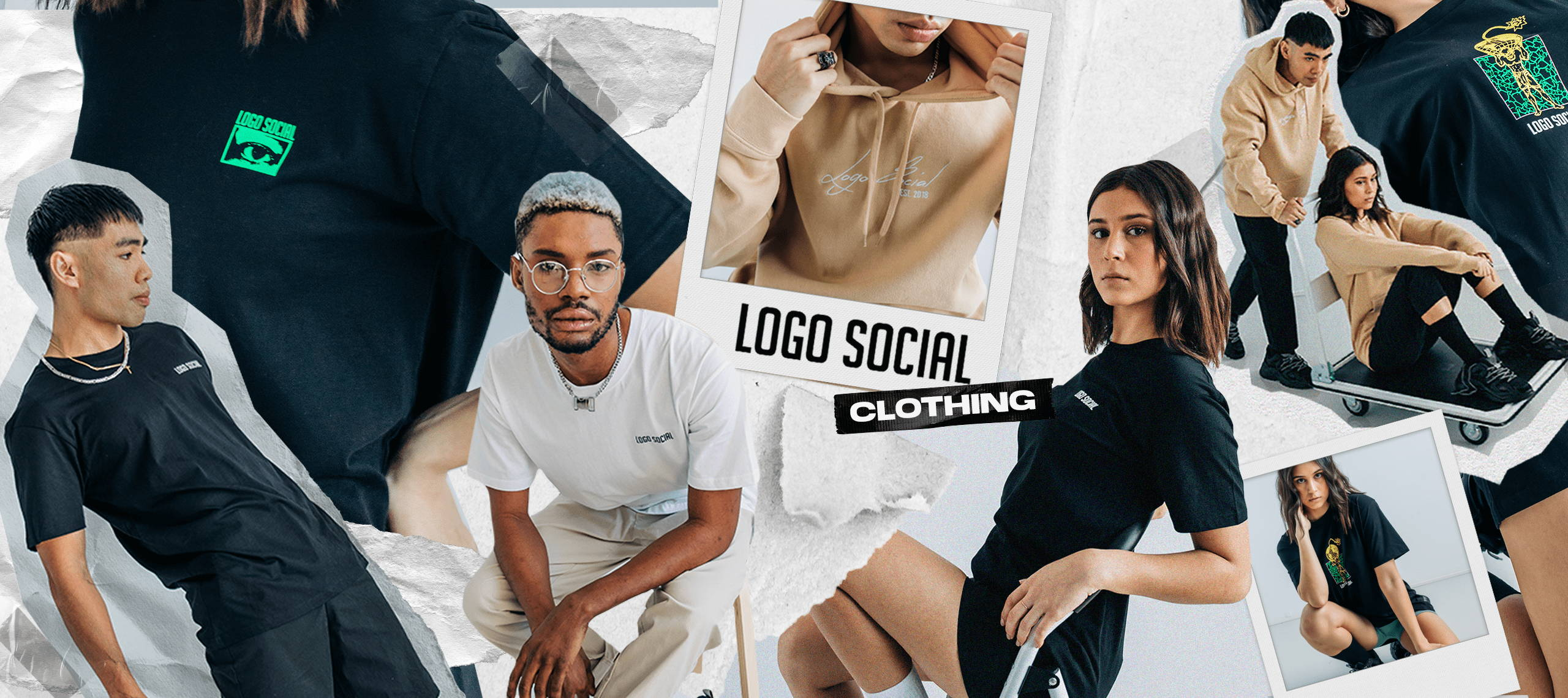 Group of models posing in different logo social clothing wear