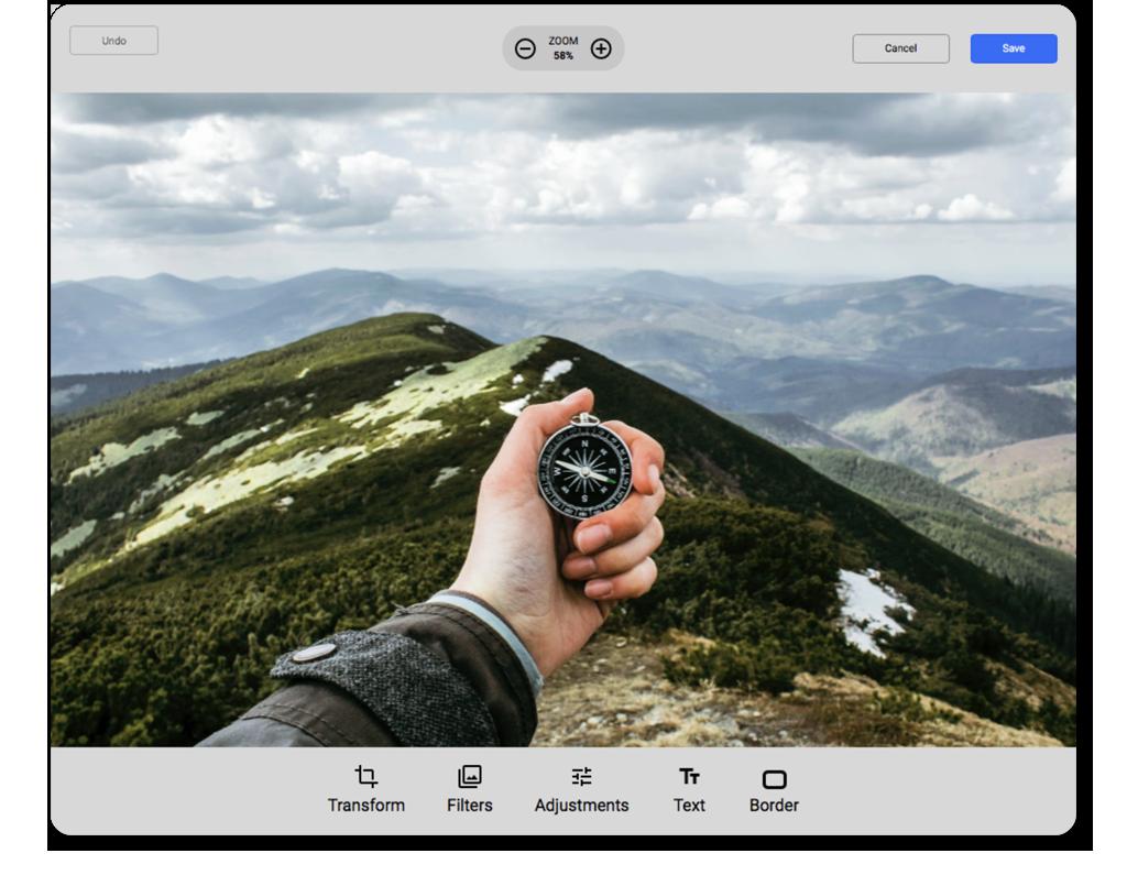 Filestack's in-browser image editor for image uploader.