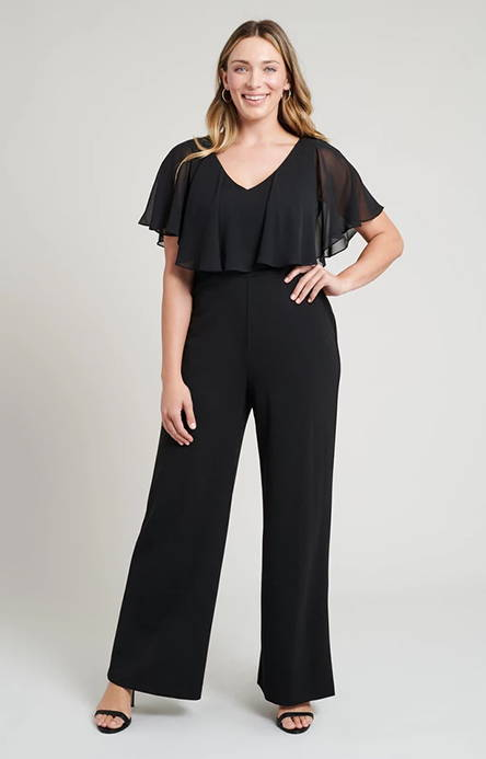 women in black full-length jumpsuit with matching neckline flounce in lbd blog at connected apparel