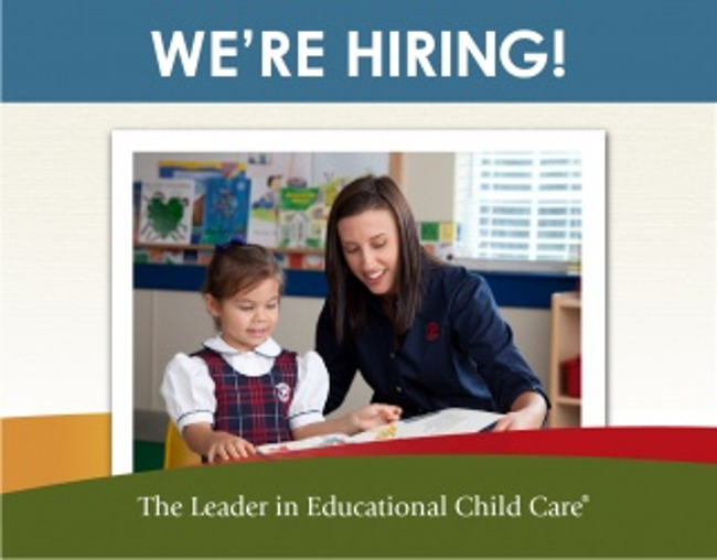 We're hiring poster featuring a Primrose teacher helping her kindergarten student to read a book