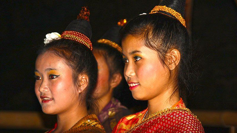 Girls in traditional Laos dress