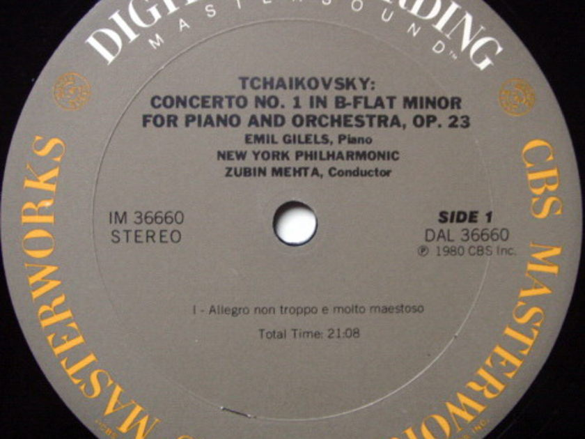 ★Audiophile★ CBS Digital / EMIL GILELS-MEHTA, - Tchaikovsky Piano Concerto No.1, MINT!