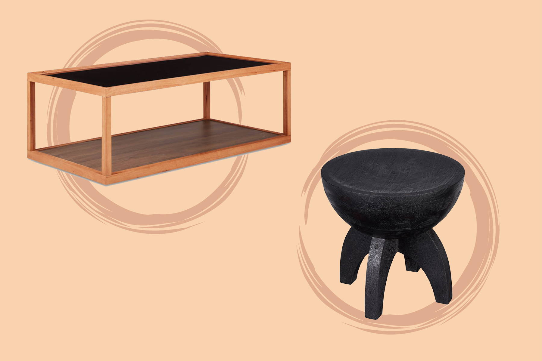 magazine table and a black solid wood side table