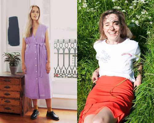 Women wearing lilac button up sustainable dress and a white organic cotton t-shirt