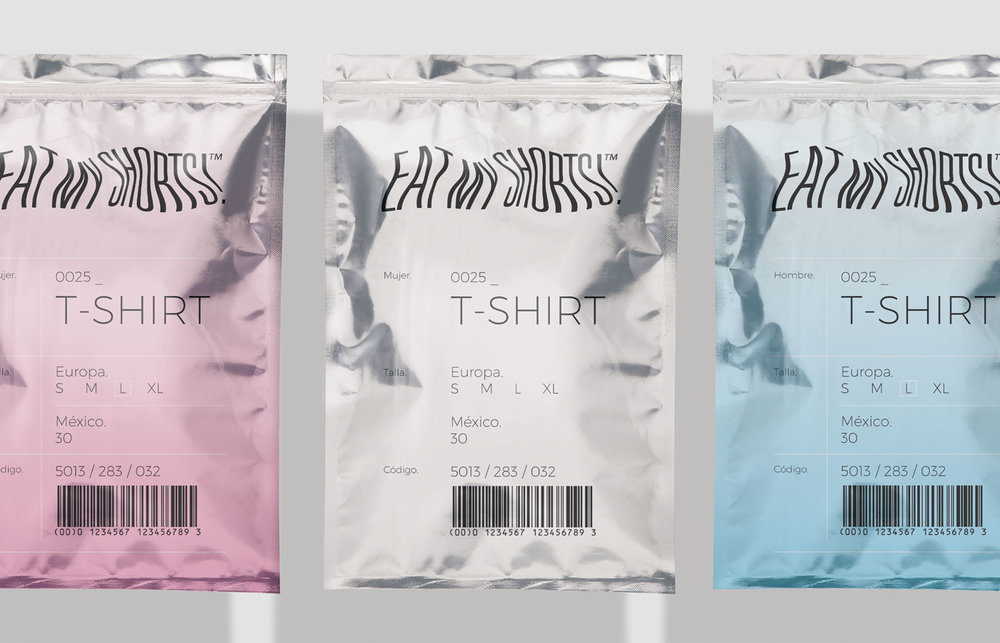 eat my shorts is a unique clothing packaging solution dieline