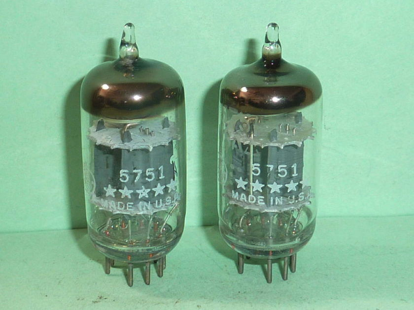 GE 5751 12AX7 ECC83 5 Star Tubes, Matched Pair, Tested