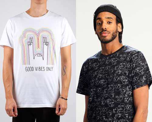 Man wearing white organic cotton t-shirt with colourful rainbow good vibes only print with a man doing the peace sign and man wearing organic cotton black t-shirt with a multiple faces design in white, both tees from sustainable fashion brand Dedicated
