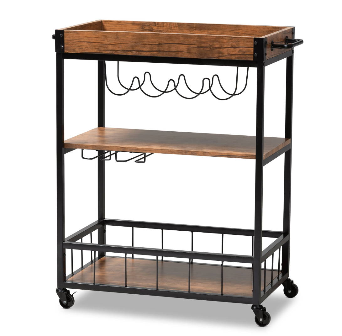 Modern Bar Cart, At Home Bar Cart, Bar Cart with Wine Rack, Liquor Storage