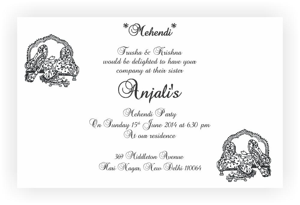 Mehndi invitation chococraft messages for mehndi ceremony invitation stopboris Choice Image