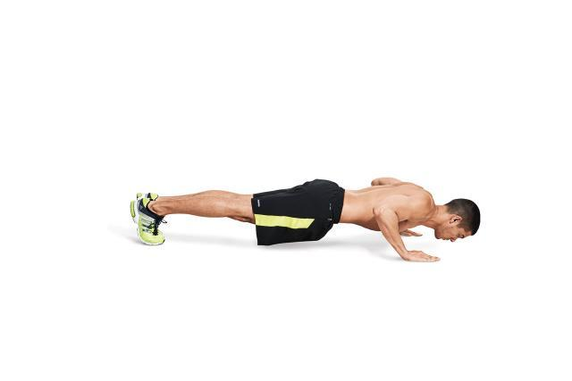 Lower your body until your chest is an inch above the floor.