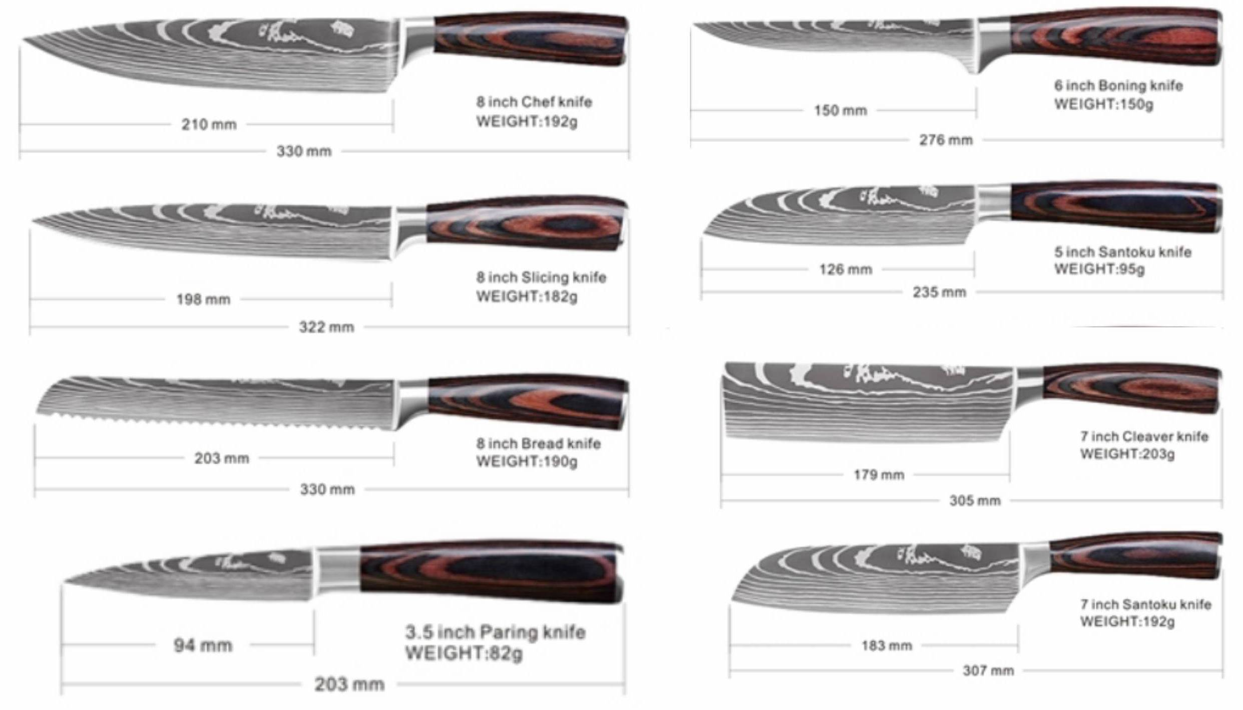 Best Professional Kitchen Knives, Best Kitchen Knife Set, Japanese Chef Knife Set, Damascus Knives,