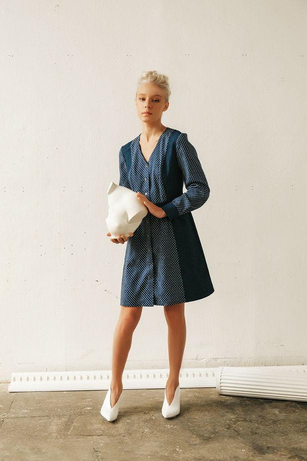 Хлопковое платье с жаккардовым переплетением