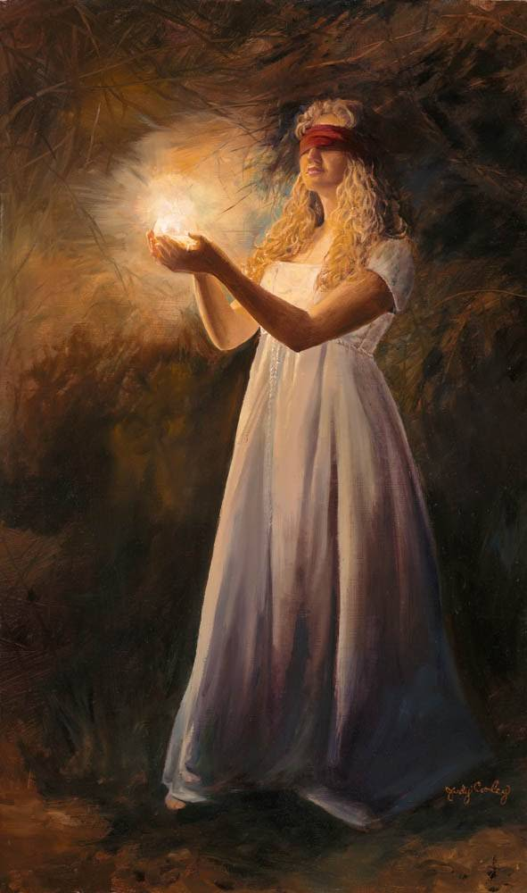 LDS art painting of a blindfolded young woman walking through the dark while holding a glowing light.