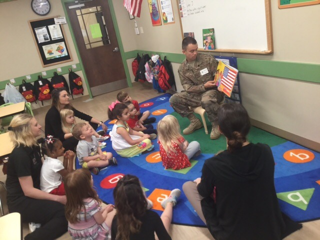 veteran reading to class
