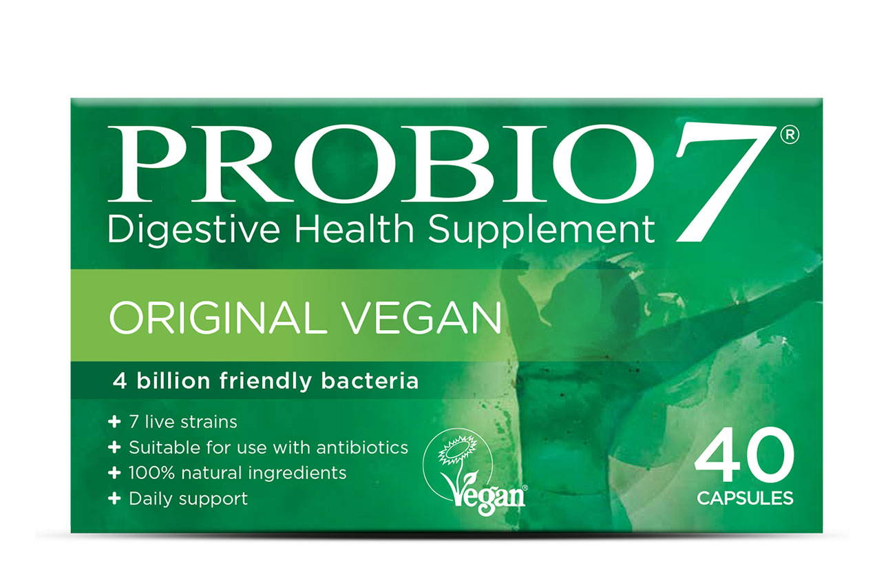 Probio7 Original Vegan. The same great formula as Original but packaged into a vegetable cellulose capsule, making it suitable for vegans.