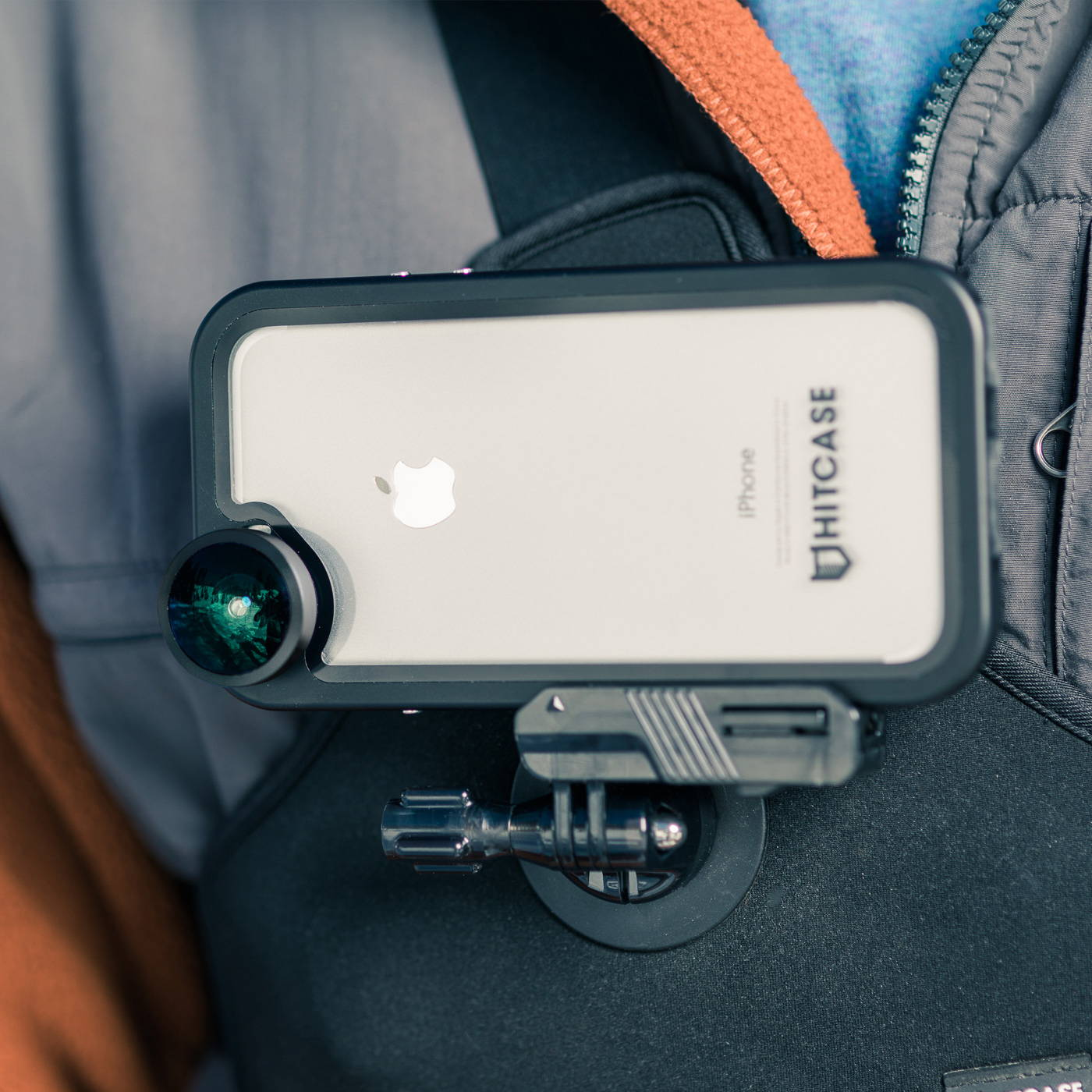 hitcase pro waterproof iphone case on chestr chest mount